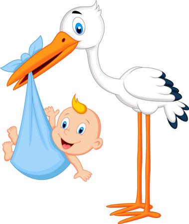cicogna: Cartoon cicogna che trasporta bambino