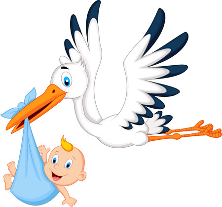 child birth: Cartoon stork carrying baby Illustration