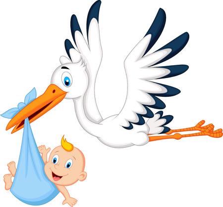 cicogna: Cicogna del fumetto che trasportano bambino Vettoriali