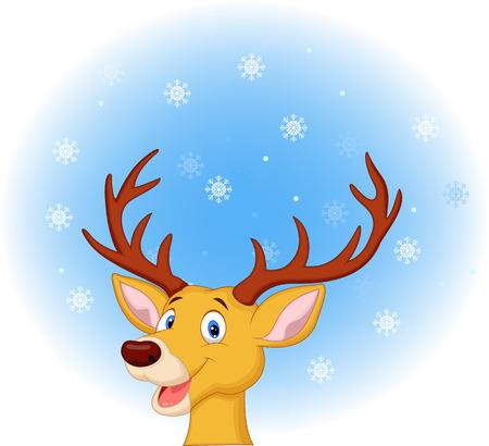 white tail deer: Deer head cartoon Illustration