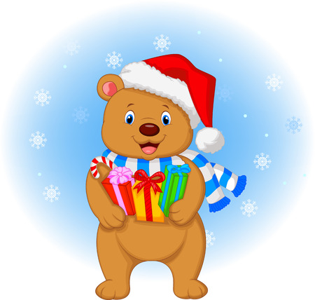 Bear cartoon holding gifts Vector