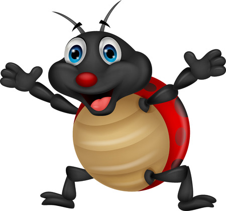 Happy ladybug cartoon  Vector