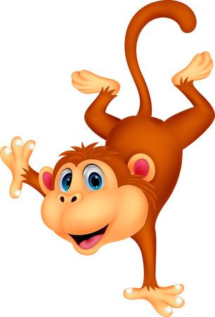 silvestres: Mono lindo de dibujos animados de pie en la mano