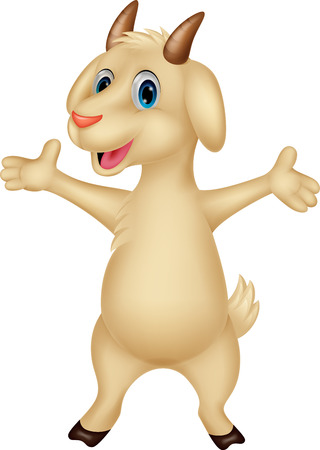 smiling goat: Cute goat cartoon posing