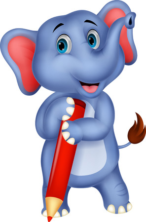 Cute elephant cartoon holding red pencil  Stock Vector - 24469100