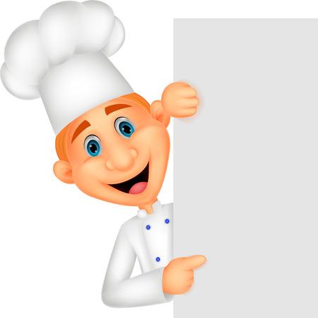 man presenting: Happy chef cartoon holding blank sign