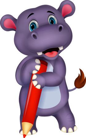 Cute hippo cartoon holding yellow pencil  Stock Vector - 24469107
