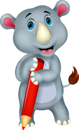 Rhino cartoon holding pencil  Stock Vector - 24469108