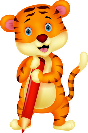 Cute tiger cartoon holding red pencil  Stock Vector - 24469109