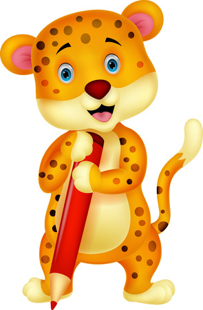 Cute leopard cartoon holding red pencil  Stock Vector - 24469110