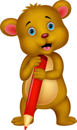 Cute brown bear cartoon holding red pencil Stock Vector - 24469112