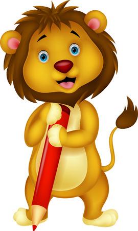 Historieta del león lindo que sostiene el lápiz rojo