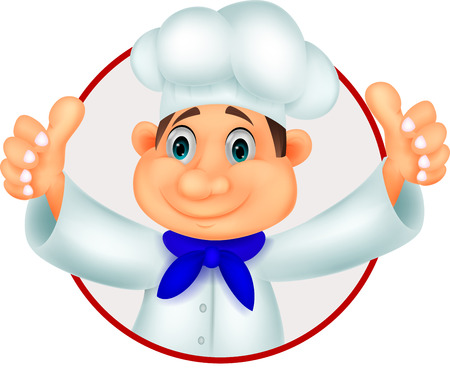happy young people: Chef cartoon giving thumb up