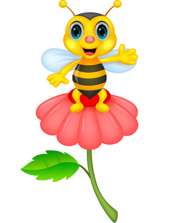 Pequeña historieta linda de la abeja en la flor roja