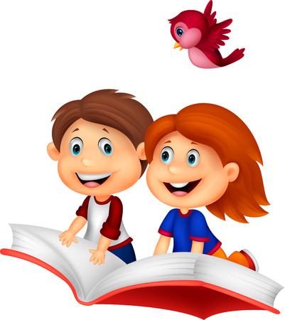 female child: Happy Children cartoon riding book Illustration