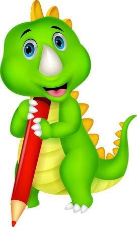 Cute dinosaur cartoon holding red pencil Stock Vector - 24469119
