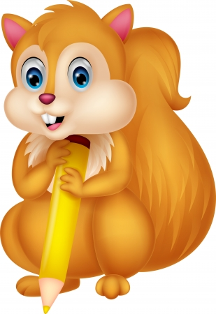 red squirrel: Cute squirrel cartoon holding pencil