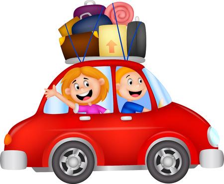 persona viajando: Dibujo animado de la familia que viajan con coche