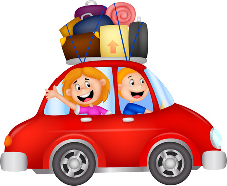 family trip: Family cartoon traveling with car  Illustration