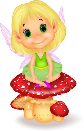 champignon magique: Bande dessin�e mignonne de f�e s'asseyant sur le champignon