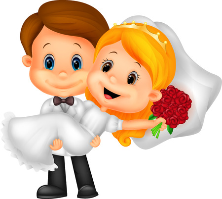 man carrying: Kids cartoon Playing Bride and Groom  Illustration