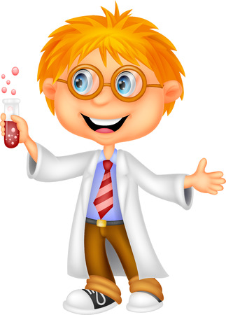 child learning: Boy cartoon doing holding reaction tube