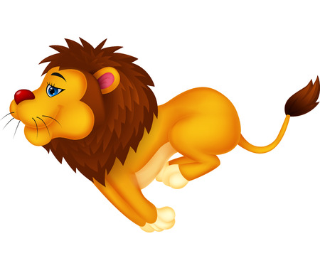 quick drawing: Lion cartoon running  Illustration