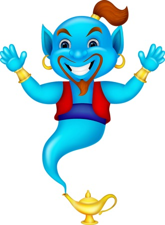 Friendly genie cartoon  Illustration