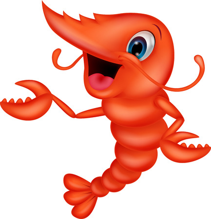 Cute shrimp cartoon presenting  Stock Vector - 24469292