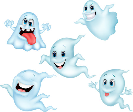 Cute ghost cartoon collection set  Illustration