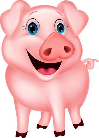 hocico: Cute dibujos animados de cerdo Vectores