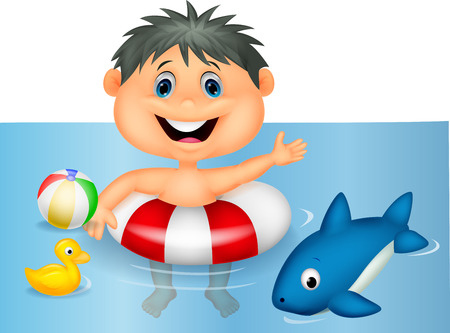 Boy cartoon floating with inflatable ring  Stock Vector - 24469297