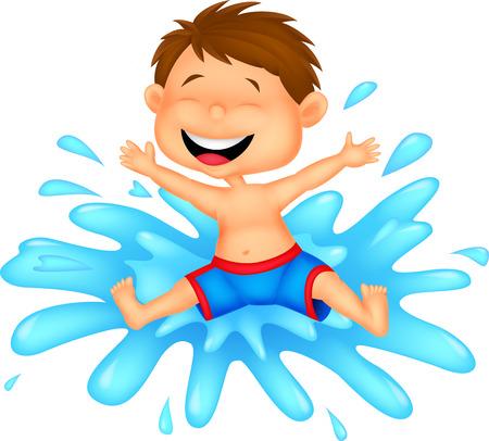 bande dessinée de garçon sautant dans l'eau