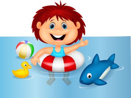 pool bola: De dibujos animados Chica flotante con anillo inflable Vectores