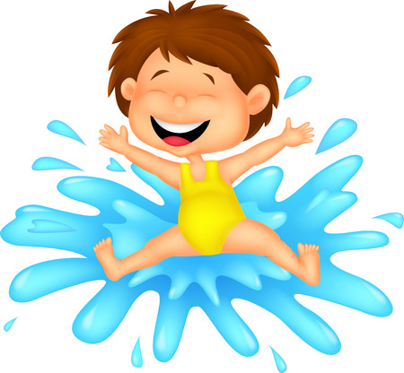 little girl bath: Girl cartoon jumping to the water  Illustration