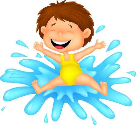 Meisje cartoon springen om het water