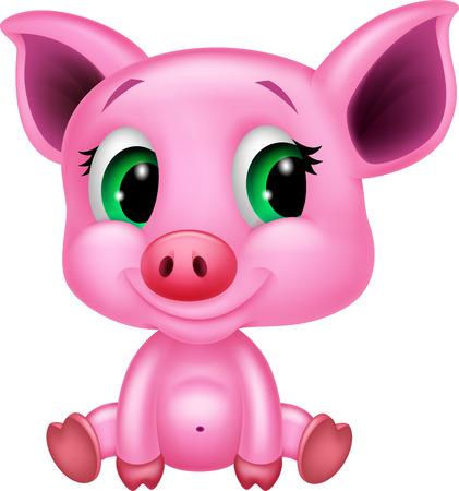 pig tails: Cute baby pig cartoon  Illustration