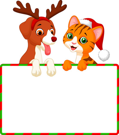 Cute cartoon cat and dog holding blank sign  Stock Vector - 24469356
