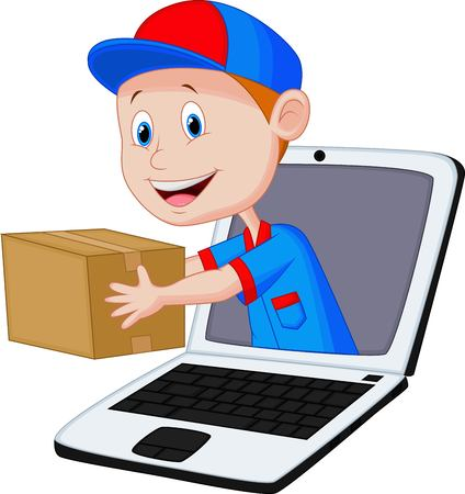 sell online: Online delivery cartoon