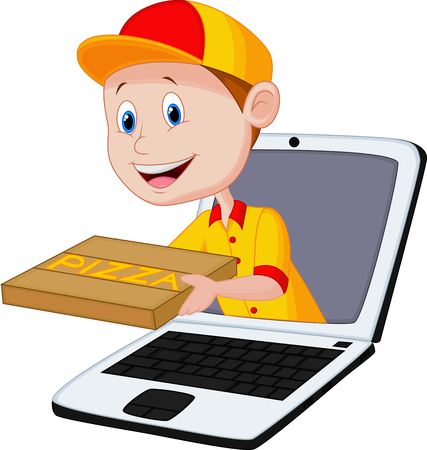 delivery boy: Cartoon Pizza delivery online