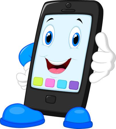 telefono caricatura: Teléfono de llamada inteligente de dibujos animados