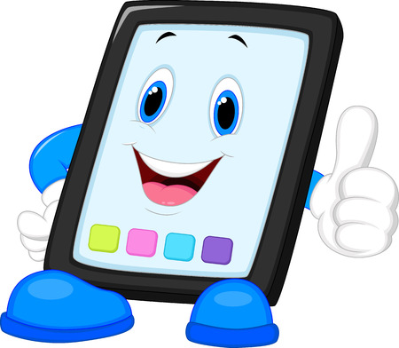 Computer tablet cartoon giving thumb up Stock Vector - 24469362