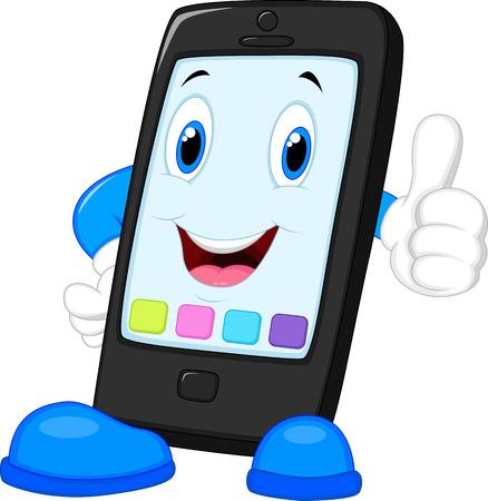 telefono caricatura: De dibujos animados de tel�fono inteligente dando pulgar hacia arriba