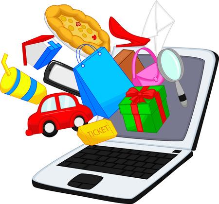 Online shopping cartoon Stock Vector - 24469377