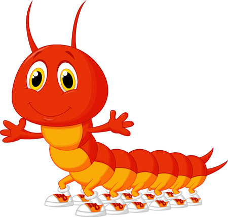 centipede: Cute centipede cartoon  Illustration
