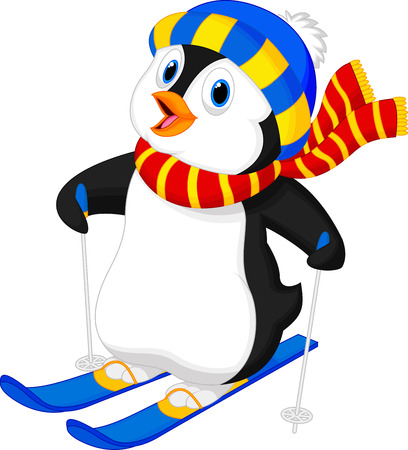Penguin cartoon skiing  Çizim