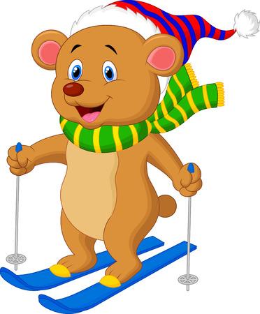 Brown bear cartoon skiing
