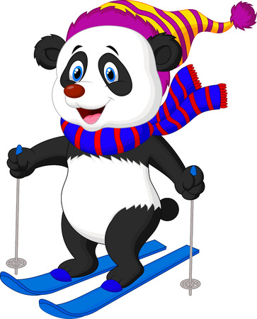 Panda cartoon skiing  Vector