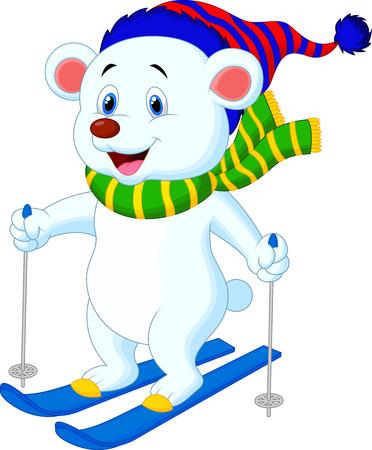 Ijsbeercartoon skiën Stock Illustratie