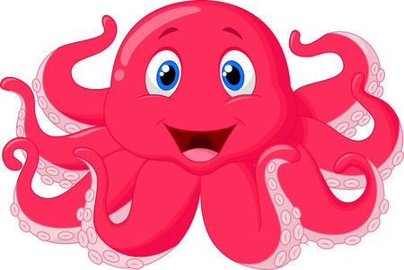 underwater fishes: Cute octopus cartoon